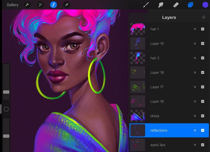 Neon Portrait Tutorial Procreate add purple reflections