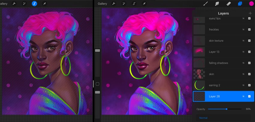 How to Paint a Neon Portrait in Procreate Tutorial add texture to the dots