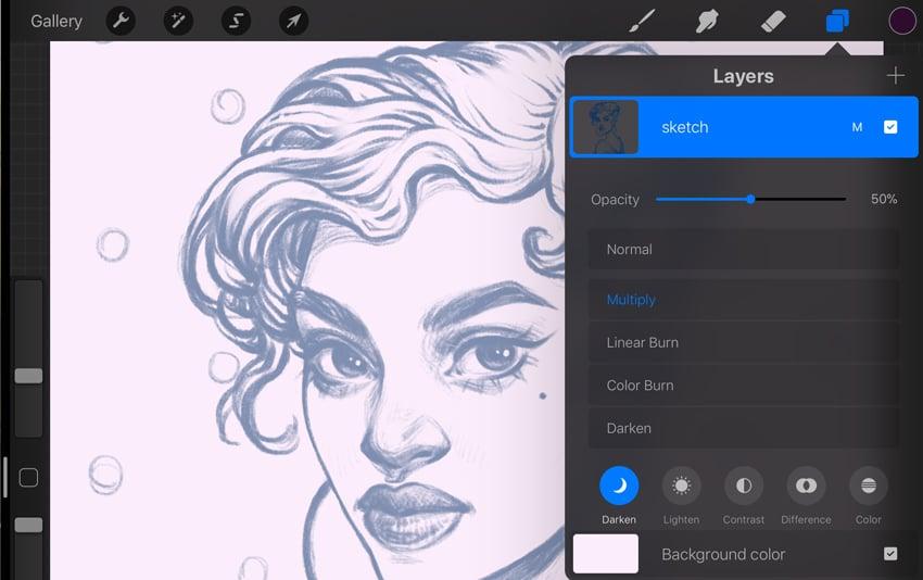 Neon Portrait Procreate Digital Drawing Tutorial sketch layer properties