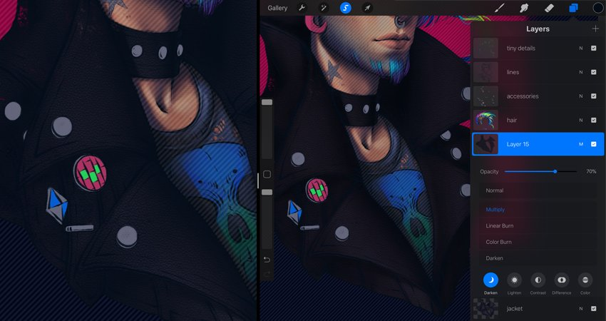 cover the jacket with texture