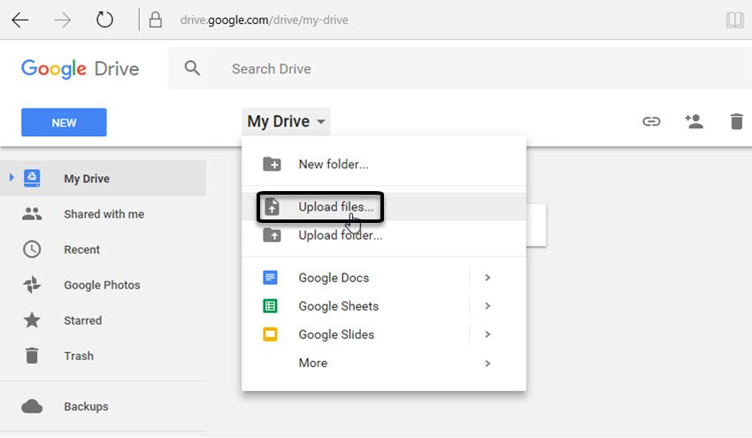 Upload the files to Google Dive