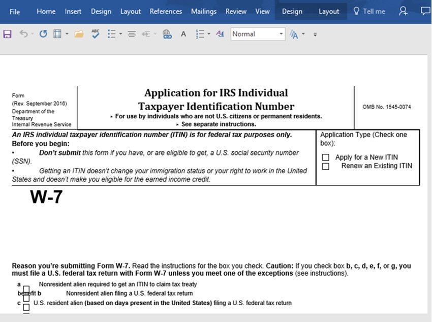A PDF form imported into Word with poor formatting