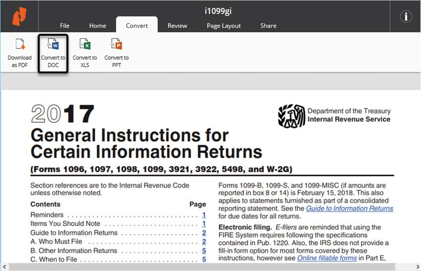 Nitro Cloud converts PDF files to Word text