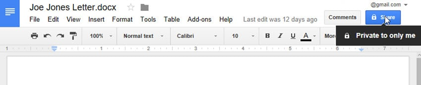 Sharing in Google Docs