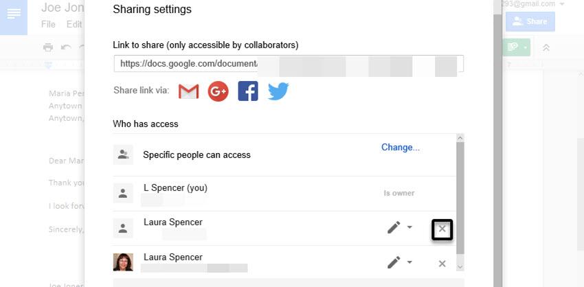 Remove a collaborator in your Google doc