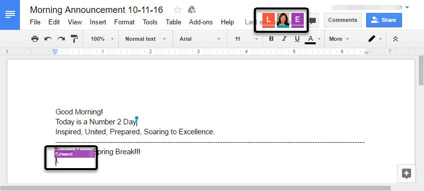 Collaborating in real-time in a shared Google document