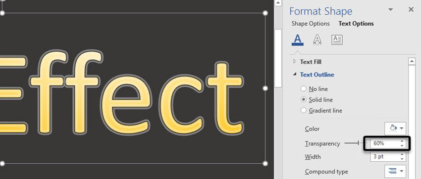 Word Text Outline options -- Transparency