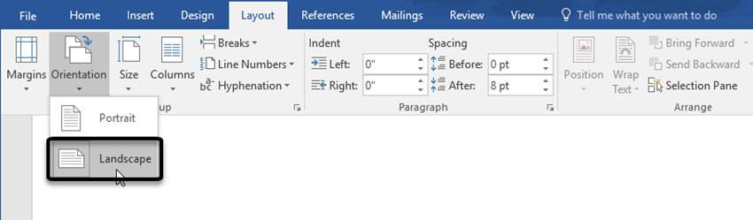 Landscape page orientation in Word