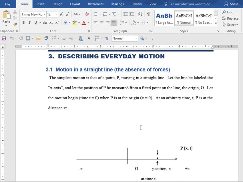 Formatted headings and subheadings in Word