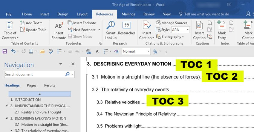 MS Word table of contents after applying new style formatting
