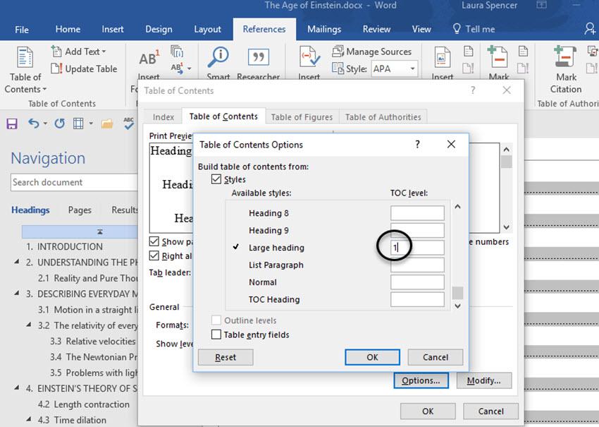 Custom styles in the Headings dialog box in Word