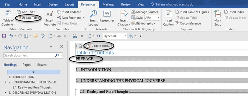 MS Word table of contents after editing document text
