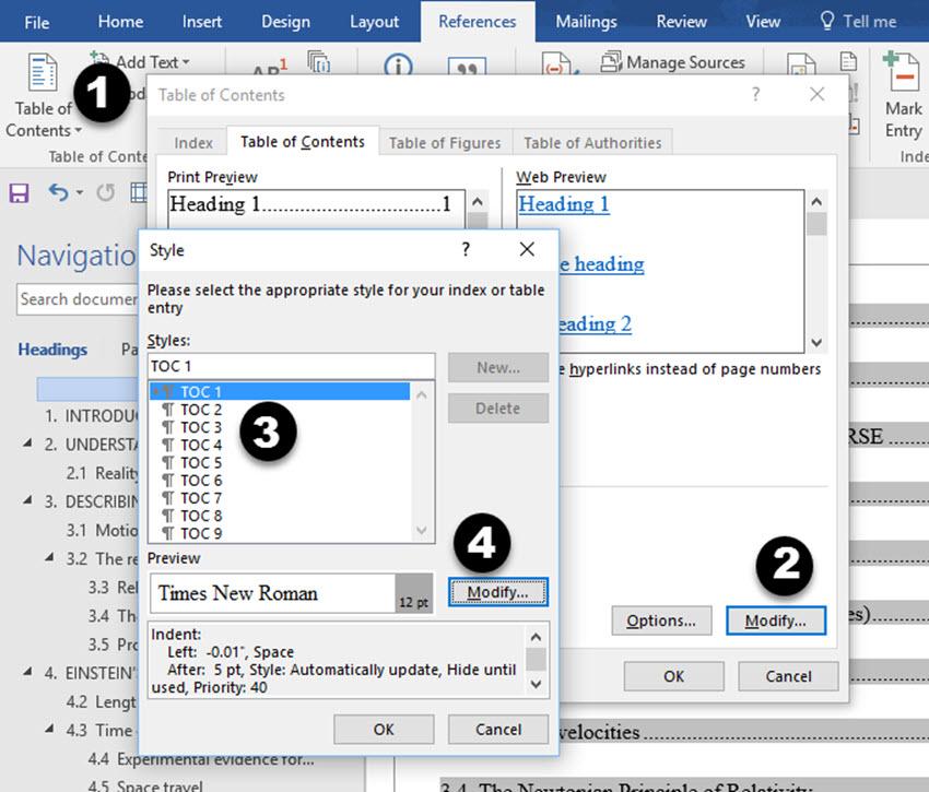 Modify Styles dialog box in Word