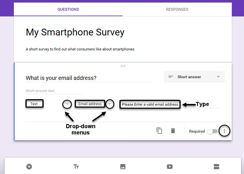 Google Forms survey example Short Answer question