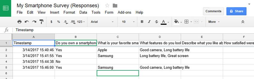 Google Sheets response spreadsheet