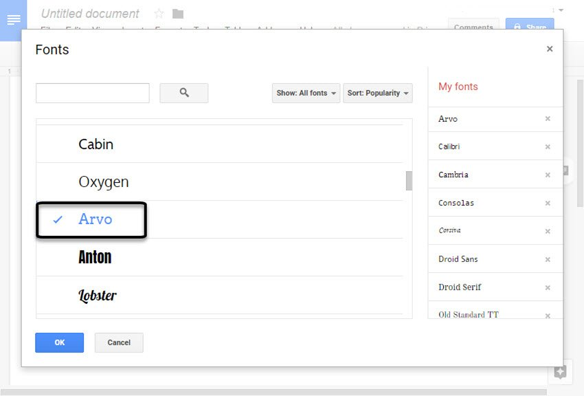 Adding the Arvo font into the font list
