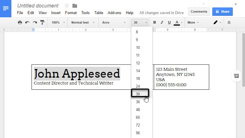 Setting a different font size