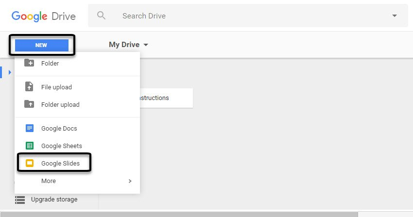 How to use google slide to create a new presentation