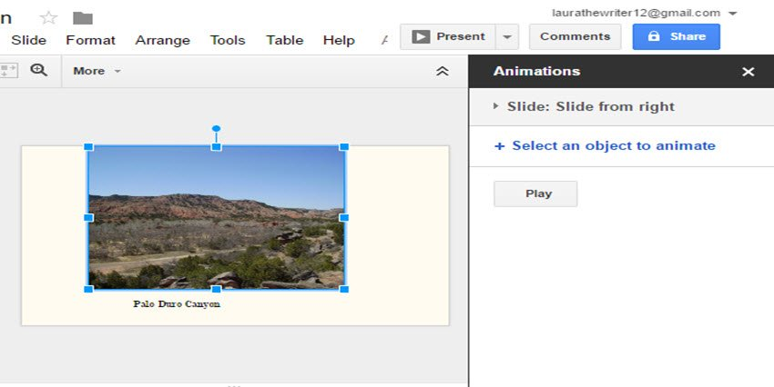 Click Select an object to animate to animate individual objects