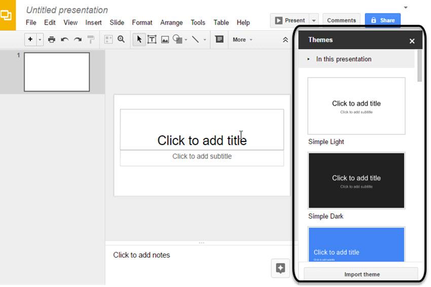 A few of Google Slides default themes