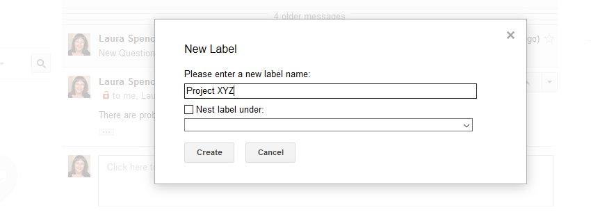 Type new label name