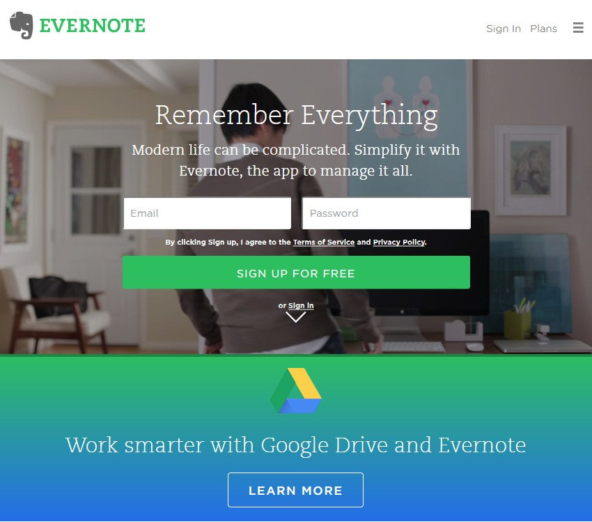 Evernote Best Productivity App for Work