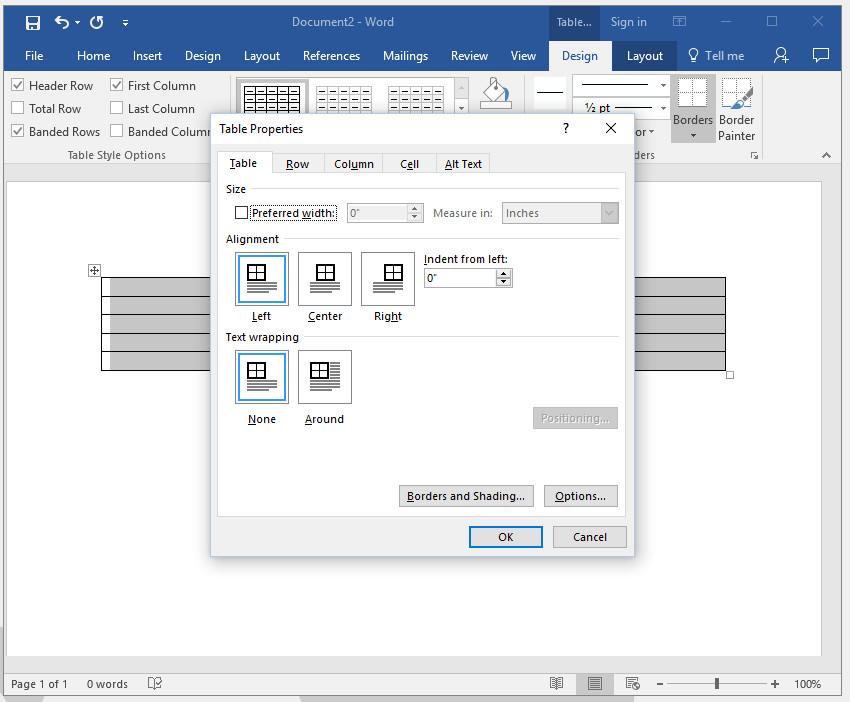Adjust table properties in Word