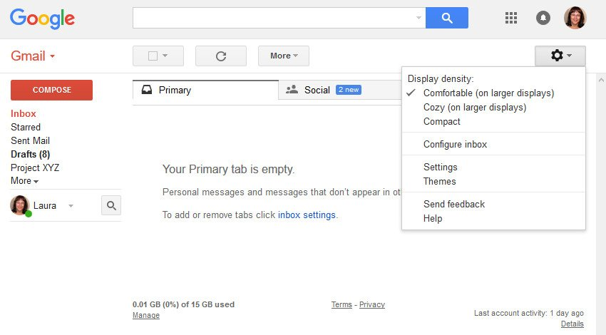 Enter the Gmail Settings screen
