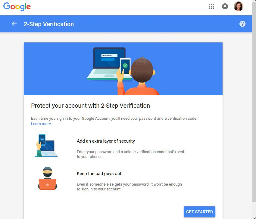 2-Step Verification screen