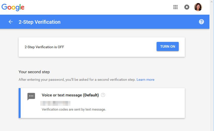 Turn On 2-step verification