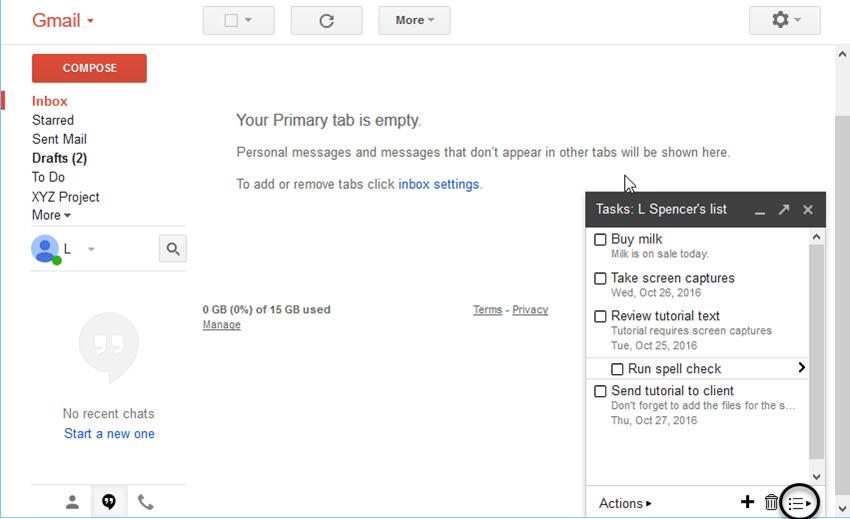 Main Gmail window with List icon circled