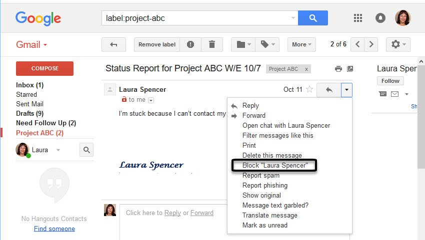 Drop-down menu to Block unwanted emails in Gmail
