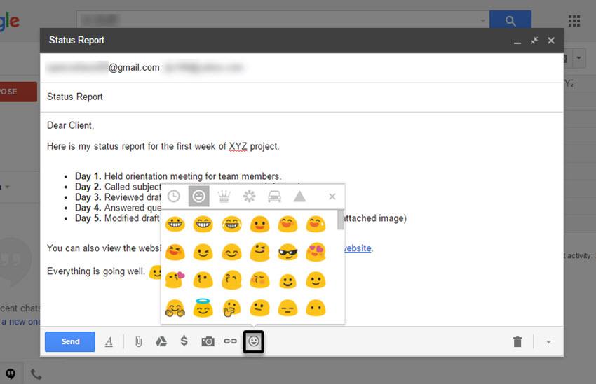 Gmail Emoji selection box