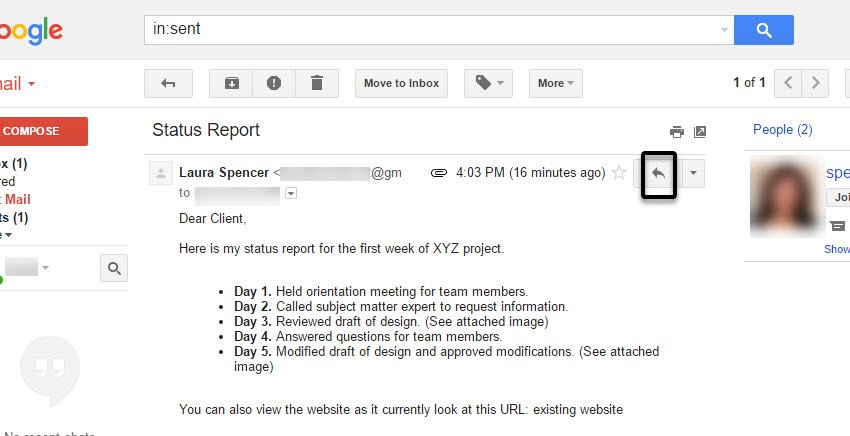 Reply to a Gmail message