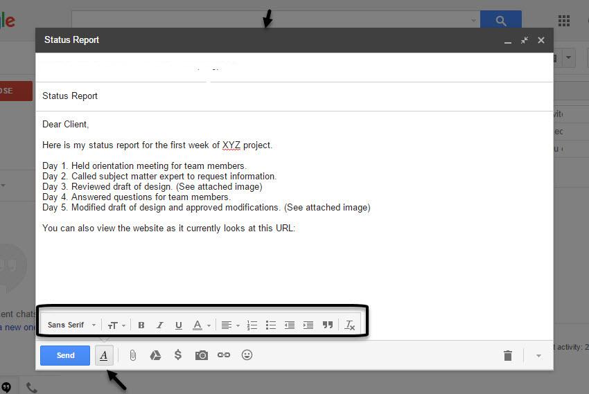 Gmail Formatting menu