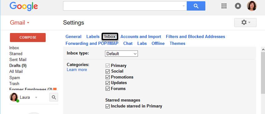 Gmail Inbox Settings screen
