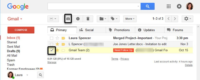 Archive a message in Gmail