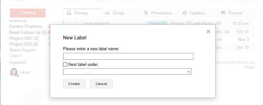New Label box