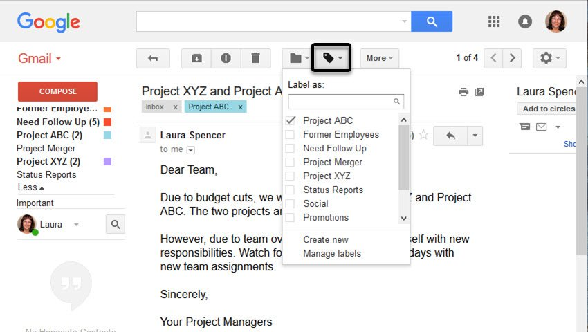 Apply a Gmail label to an email