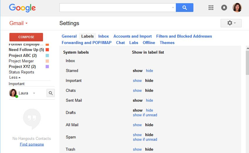 Gmail Label Settings screen