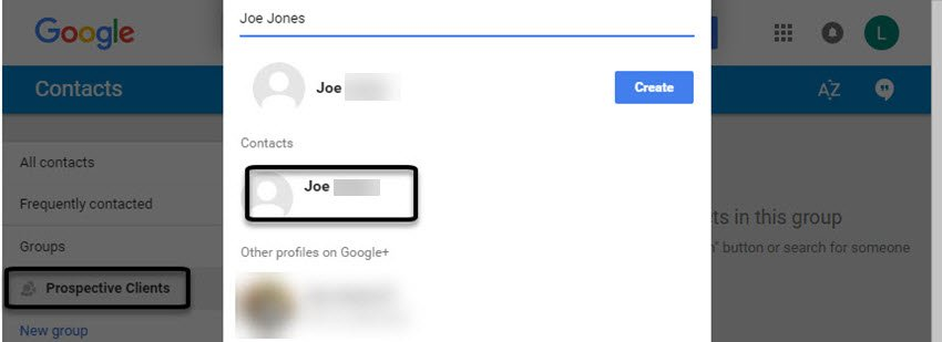 Adding a Gmail contact
