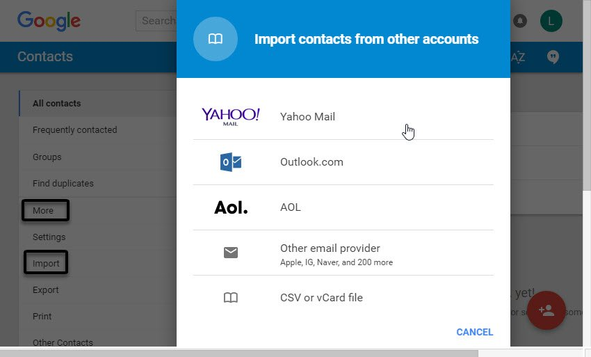 The Import contacts from other accounts box