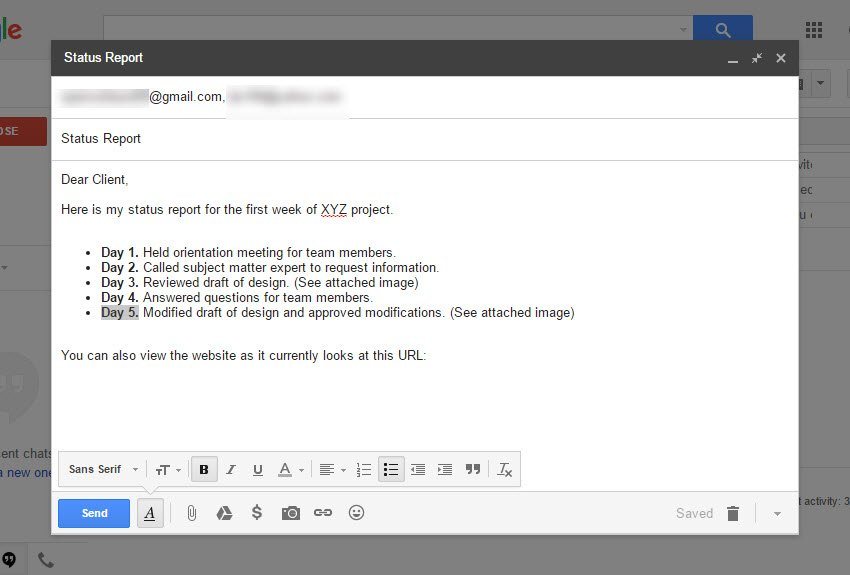 Formatted Gmail message
