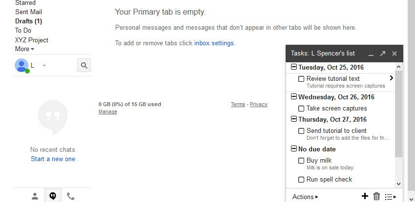 Gmail task list feature