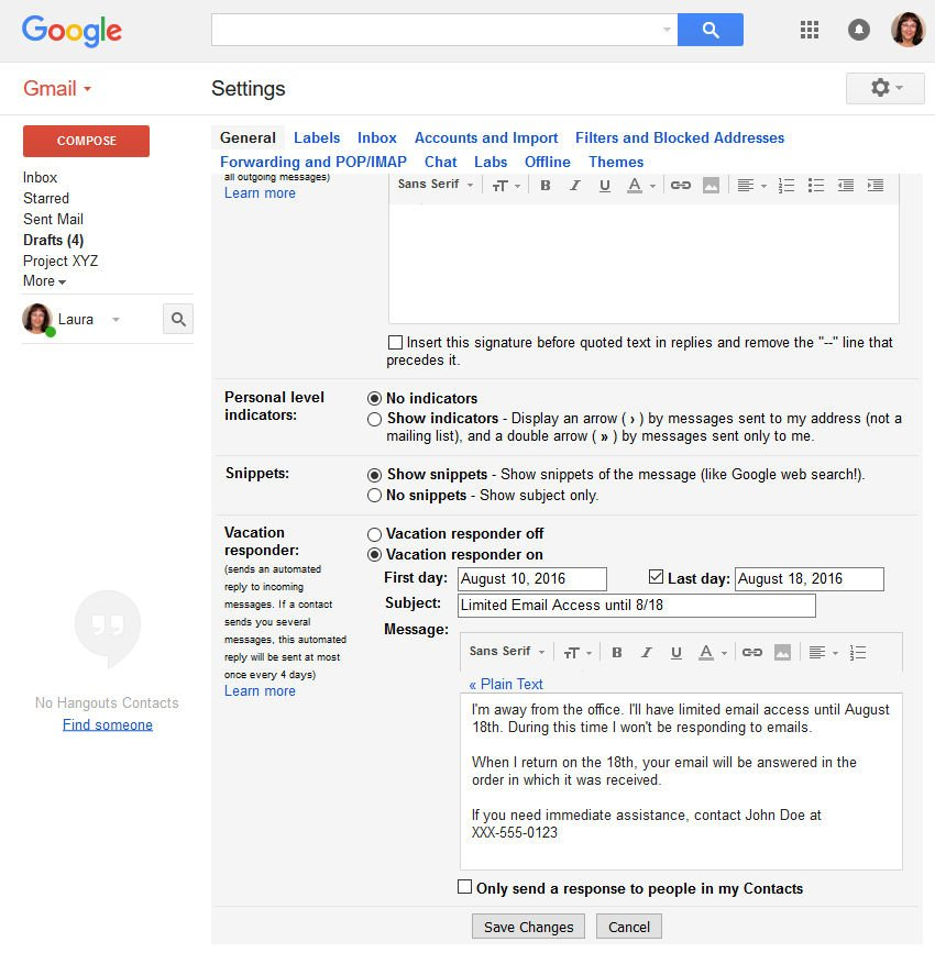 Gmail Vacation Responder feature