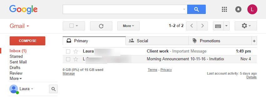 Main Gmail window