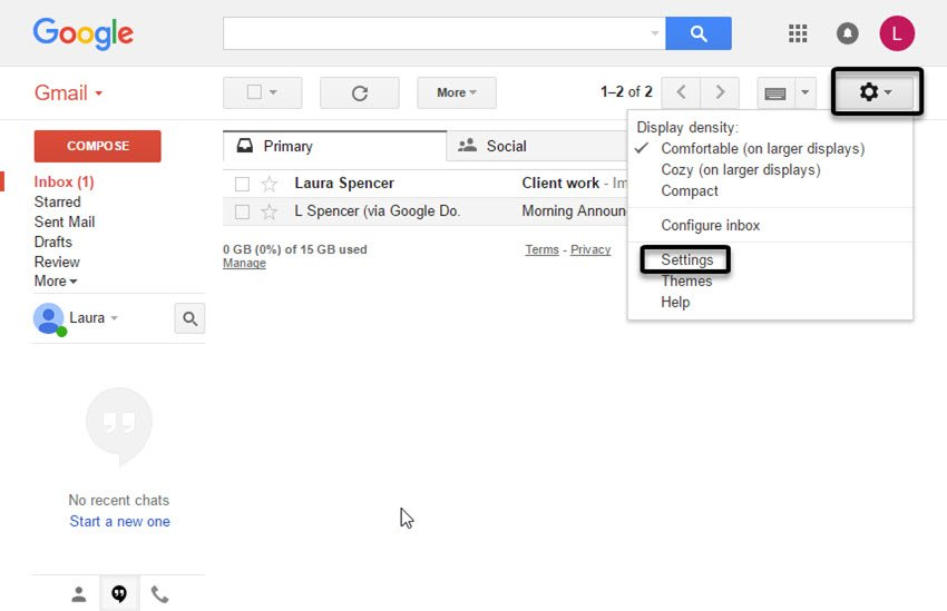 Settings drop-down menu in Gmail