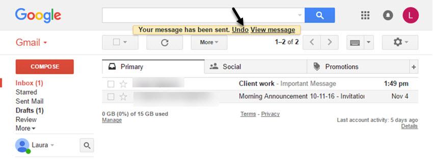 The Undo hyperlink in Gmail
