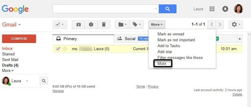 Mute Conversation in Gmail