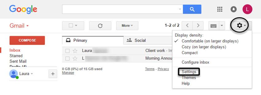 Gmail Settings Option